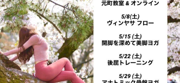 5月 元町エリヨガ & オンライン レッスンスケジュール