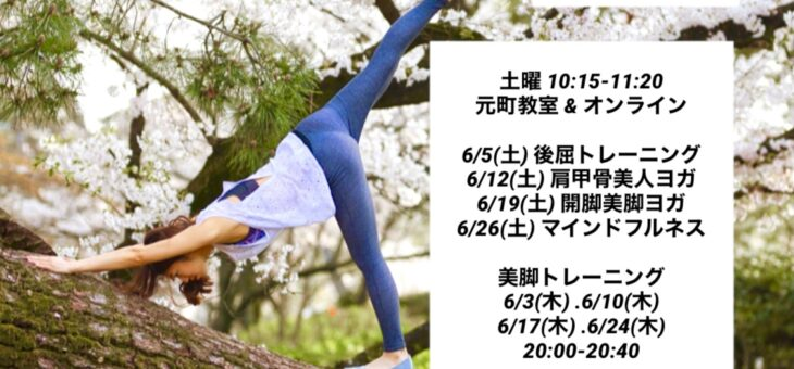6月レッスンスケジュール 元町エリヨガ